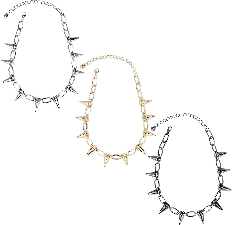 caiyao 1/3 Pcs Gothic Spike Link Chain Adjustable Choker Necklace Couple Friendship Punk Streetwear Rivet Collar Hip-hop Harajuku Charm Jewelry for Women Men