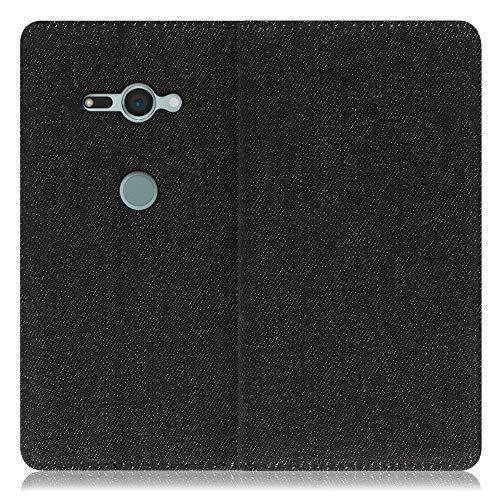 LOOF Denim Xperia XZ2 Compact/SO-05K ケース 手帳型 カバー スマホケース デニム生地 横入れ カード収納付 スタンド機能付 パス入れ 手帳型ケース 手帳型カバー ベルトなし おしゃれ シンプル ブランド (ブラック)