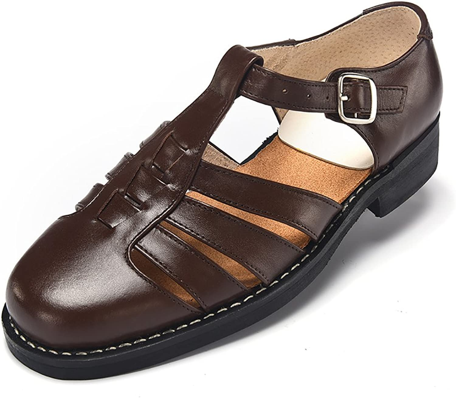 Summer Man Leather shoes Hand-made Old People Cattlehide Business Sandal (color   Brown, Size   44)