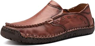 RongAi Chen Driving Loafers for Men Boat Shoes Slip On Elastic  Bands Synthetic Leather Super Soft Lug Sole Experienced Stitched Solid Color Round Toe (Color : Reddish-Brown, Size : 6 UK)