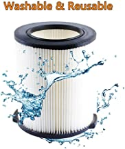 VF4000 Replacement Filter 72947 Wet Dry Vac 5 To 20-Gallon 6-9 Gal Husky Craftsman 17816 Vacuum Compatible WD5500 WD0671 RV2400A RV2600B Washable & Reusable Replace VF4000 Filter
