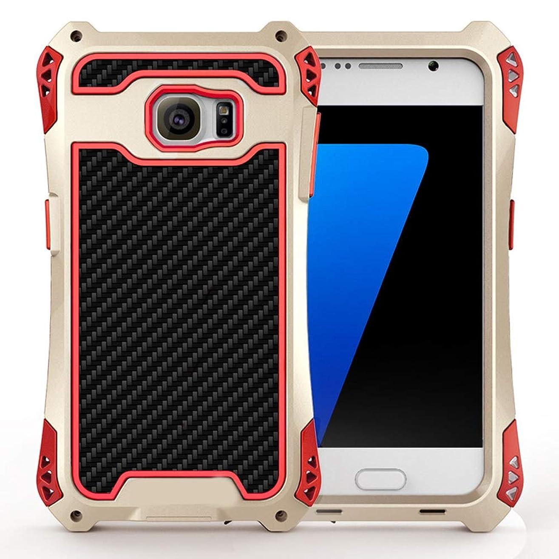 公模倣多くの危険がある状況Tonglilili 電話箱、Samsung S7、S7の端のための防水箱の金属の電話箱の表面3の保護カバーの電話箱 (Color : Black+Red+Gold, Edition : S7 Edge)