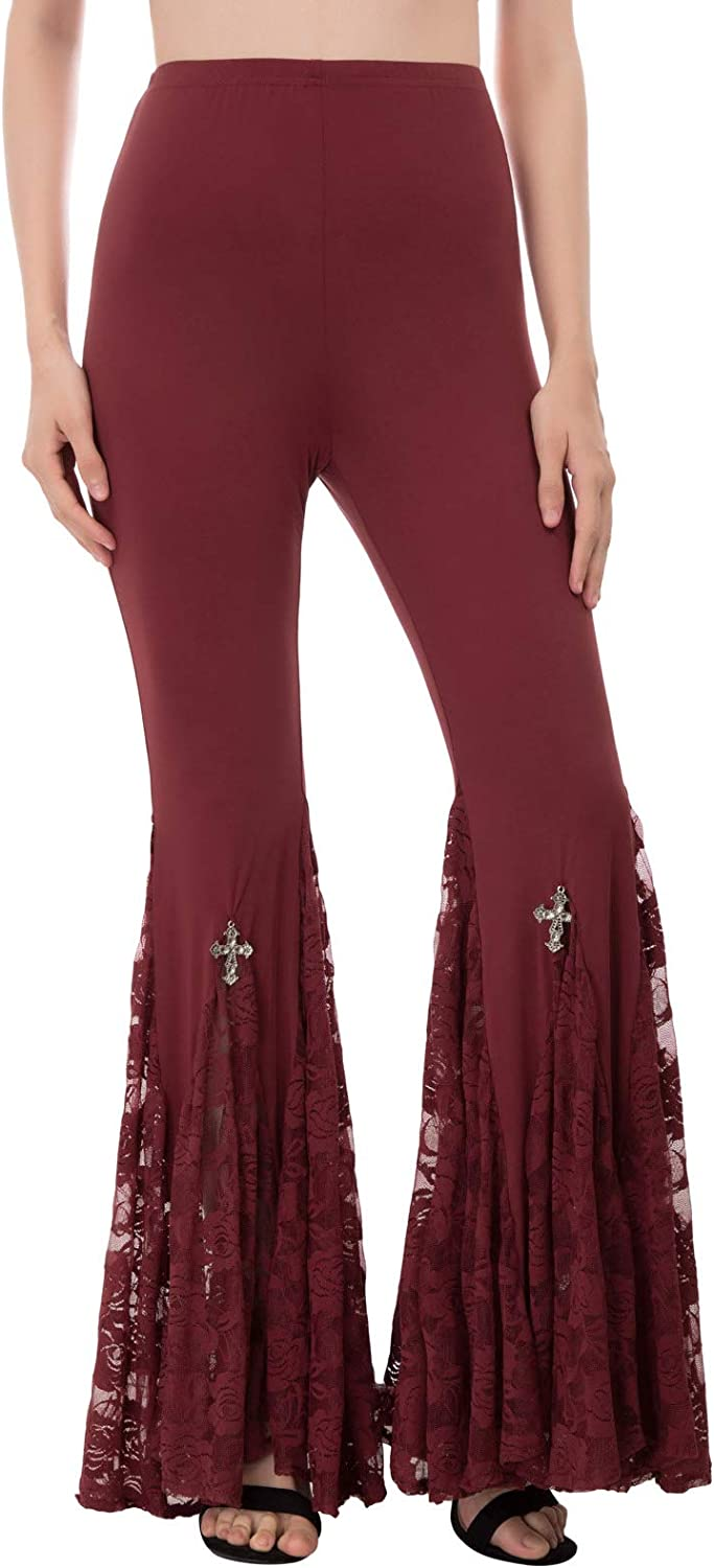 SCARLET DARKNESS Women Gothic Steampunk Lace High Waist Casual Flare Yoga Pants