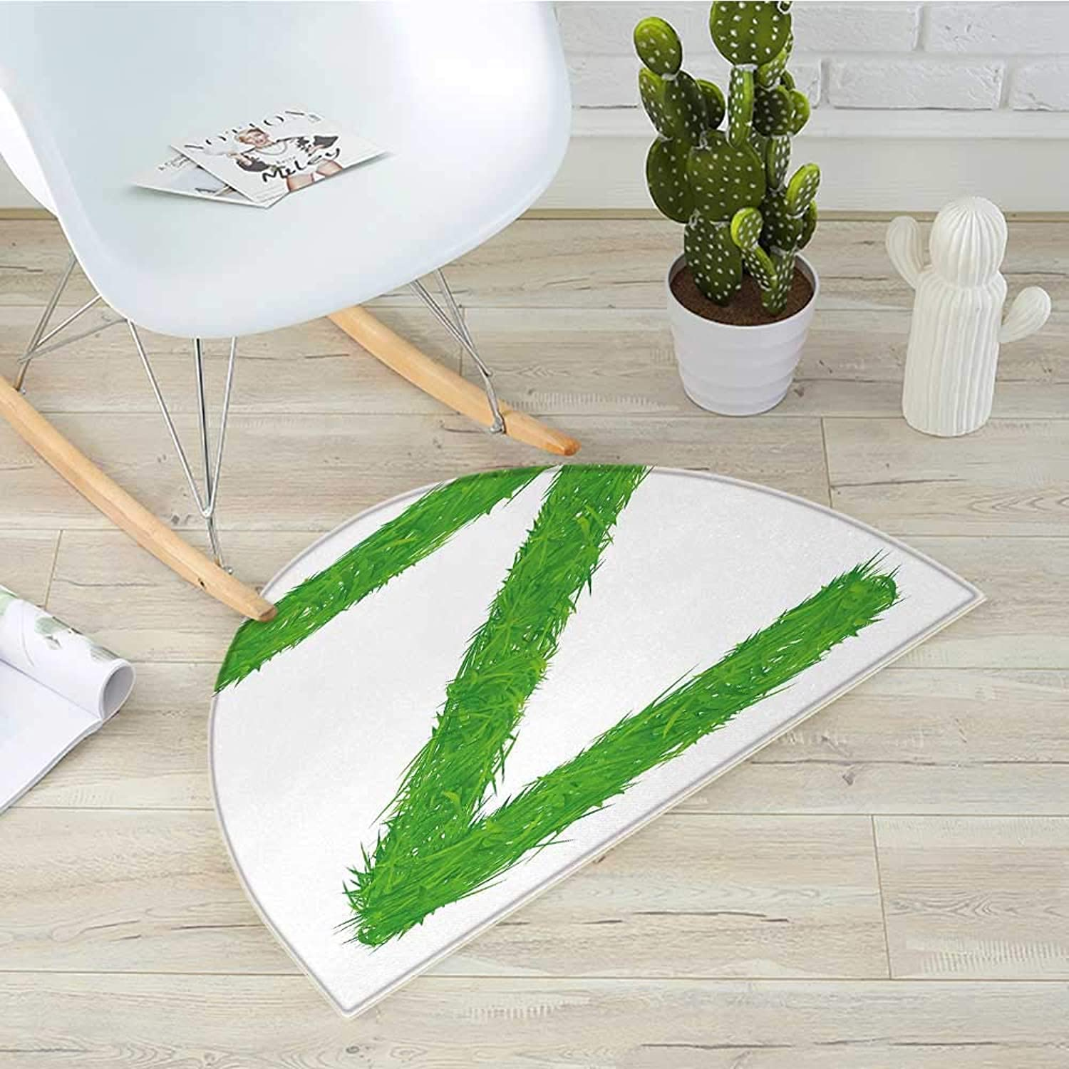 Letter Z Semicircle Doormat Spring Capital Z Made Out of Grass Ladybug Butterfly Daisy Chamomile Flowers Halfmoon doormats H 35.4  xD 53.1  Green Multicolor