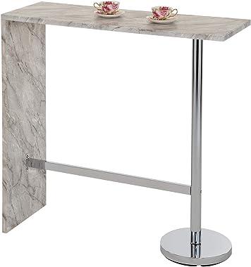 IDIMEX Table Haute de Bar Ricardo Mange-Debout comptoir piètement métal chromé, Plateau en MDF décor marbre Gris