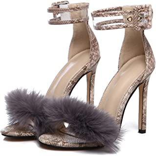 540c27b7914a Baigoods Women Sandals Shoes Women Suede Fur High Heels Footwear Ankle  Sandals Female Party Wedding Dress