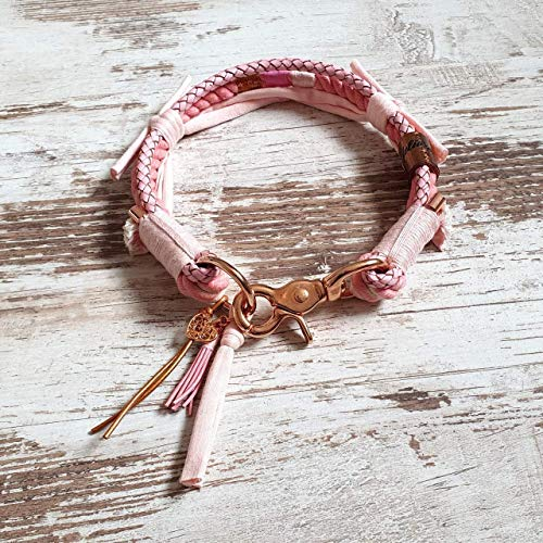 Hundehalsband *Vagabond* Love Story Girls – Boho-Stil – Halsband für Hunde – 100% Handmade & Unique – Tauwerk aus 100% reiner Baumwolle & hochwertiges Rindslederband