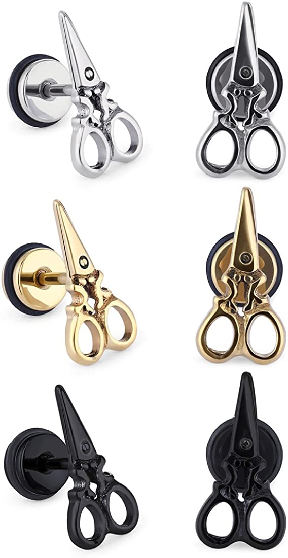 Cottvott Womens Mens Scissors Shape Earring Studs Stainlss Steel Cartilage Ear Piercings Jewlelry