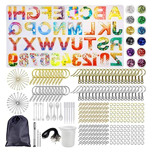 Naturra DIY Letter Silicone Resin Casting Jewelry Moulds Kit for Jewellery Craft Keychain Pendants Earrings Making