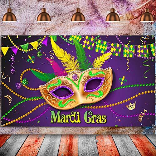 Decoración de Banner de Fondo de Fiesta de Mardi Gras, Tela Extra Grande Pancarta Letrero de Mardi Gras Telón de Fondo de Cabina de Fotos para Fiesta de Carnaval