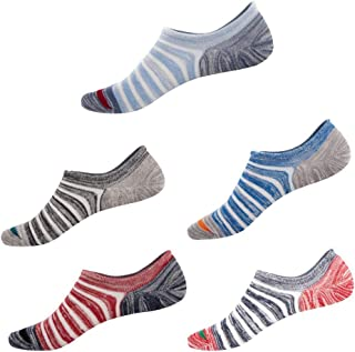 LLFS, 5 pares de calcetines invisibles de algodón a rayas para hombre, antideslizantes, con agarre antideslizante