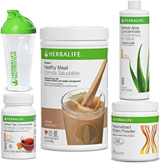 Herbalife Quick Combo - Formula 1 Shake Mix (Cafe Latte), Personalized Protein, Herbal Aloe (Mango), Herbal Tea Concentrate (Peach)