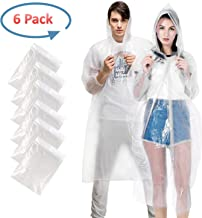GYORGKSHI Rain Poncho for Adults, Clear Disposable Poncho for Men Women, Emergency Lightweight Raincoat with Drawstring Hood (6 Pack)