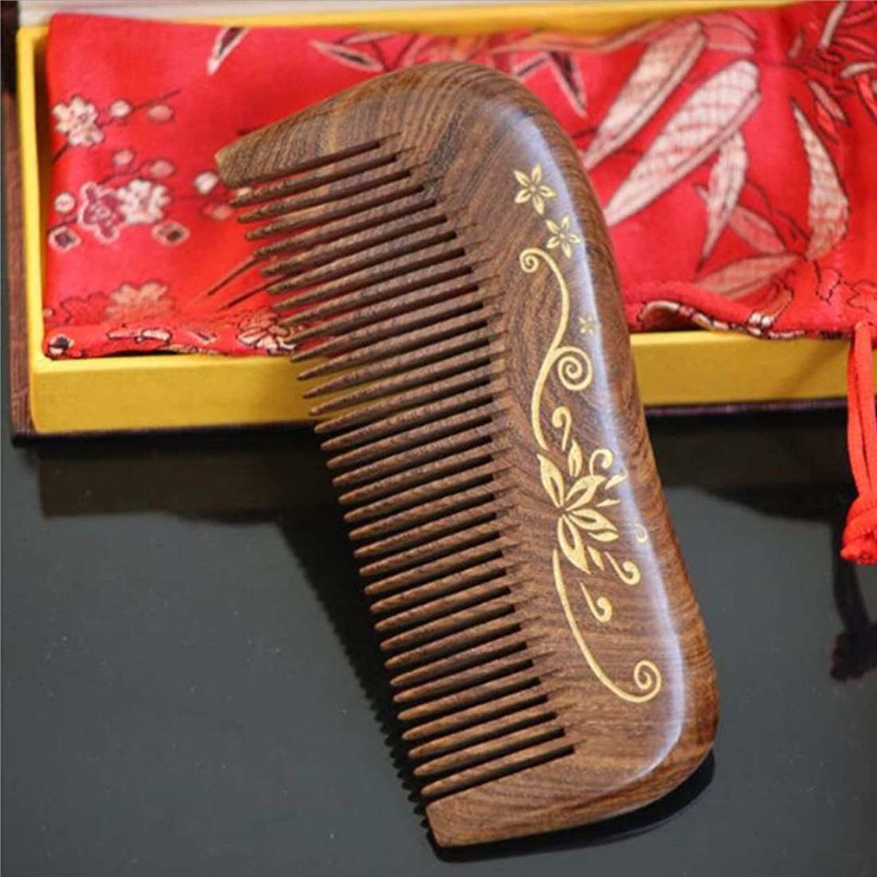 動物園和解する隔離白檀の毛の櫛 - 様々なスタイルはギフト用の箱と、頭髪のための密な歯の櫛の帯電防止ヘアブラシを握り モデリングツール (Design : I)
