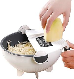 YXZQ 9 in 1 Vegetable Cutter with Drain Basket, Multifunctional Vegetable Mandoline Slicer Vegetable Chopper Graters, Kitc...