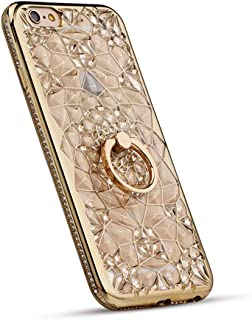 Phone Case Compatible with iPhone 6 Plus & iPhone 6S Plus, GIZEE Luxury Sparkle Bling Crystal Clear 3D Diamond Ring Stand Soft TPU Protective Case (Gold)