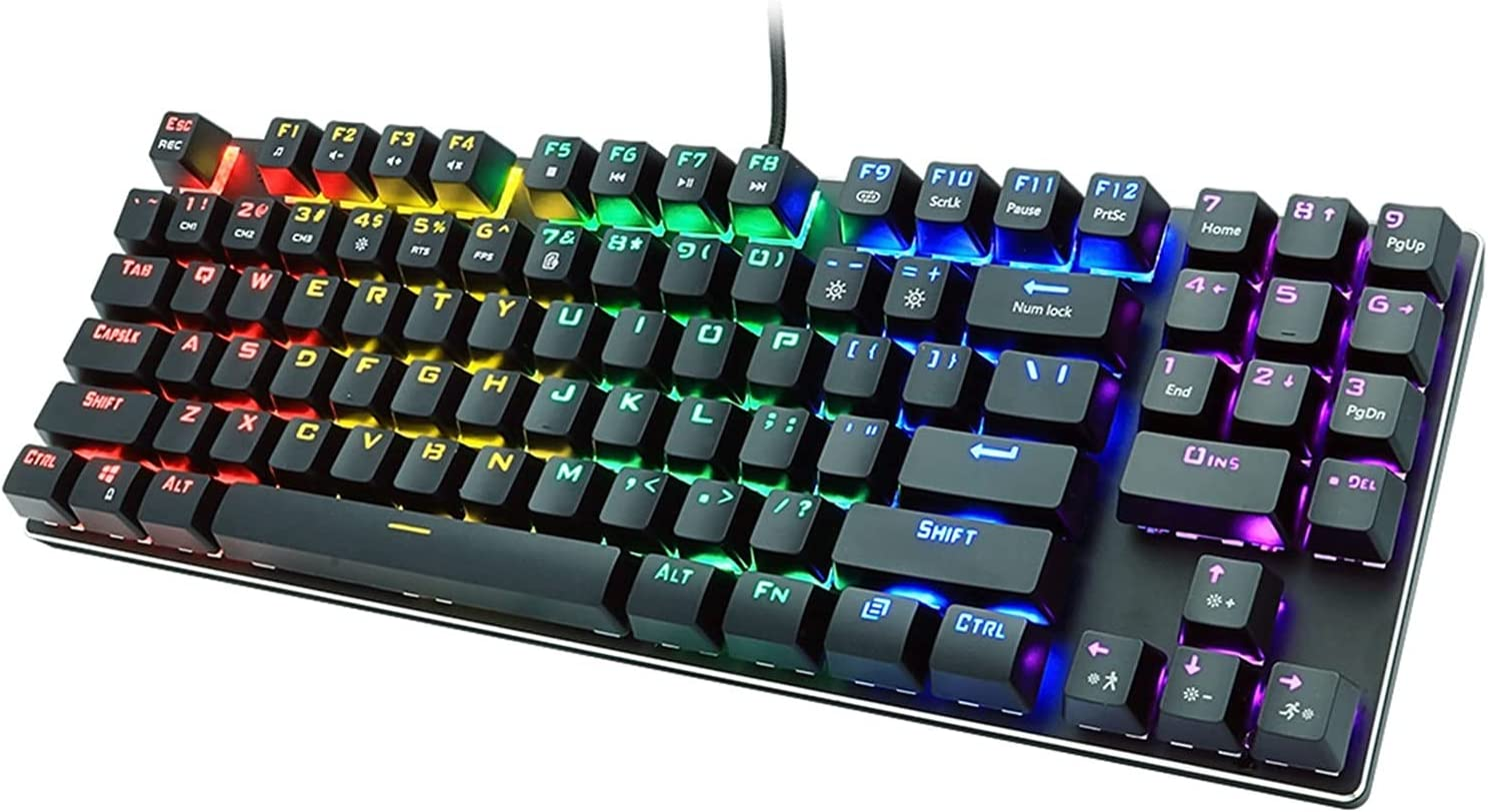 Max 63% OFF MMBH Wired Austin Mall Gaming Mechanical Keyboard Blue Key Red 89 Backlight