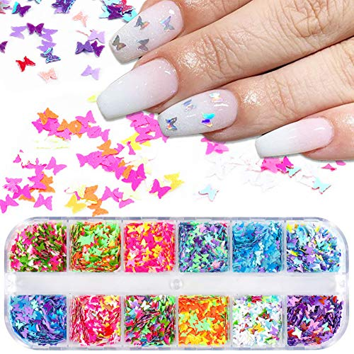 3D Butterfly Nail Art Glitter Sequins Colorful Laser Butterfly Nail Sequin Acrylic Paillettes, Holographic Nail Sparkle Confetti Paillettes for DIY,Eye Makeup Sequins,Lip Gloss Decorations
