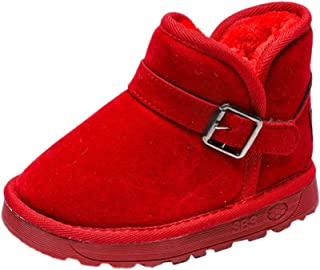 Hopscotch Baby Girls Cotton Buckle Up Snow Boots - Red