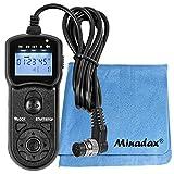 JJC - Disparador remoto 5 en 1 multifunción con temporizador e intervalo, compatible con Nikon D3, D4, D5, D300s, D700, D800 y D500, incluye gamuza de limpieza Minadax®