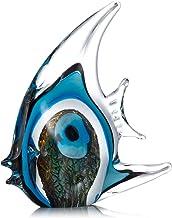 Romacci Escultura em vidro de peixes tropicais de listra azul Decoração para casa Peixe de vidro