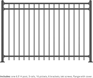 XCEL - Black Steel Fence Panel Cortina Style - 6.5ft W x 5ft H - DIY Installation Fence Kit, Outdoor Fencing for Yard, Garden, Concrete, 3-Rail Rackable, Include a Fence Post, Powder-Coated Mental