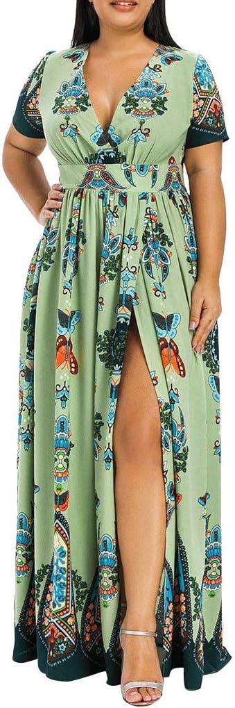 Eoailr Women Plus Max 69% OFF Size Floral Wrap Atlanta Mall Neck Maxi Dress Party V Short