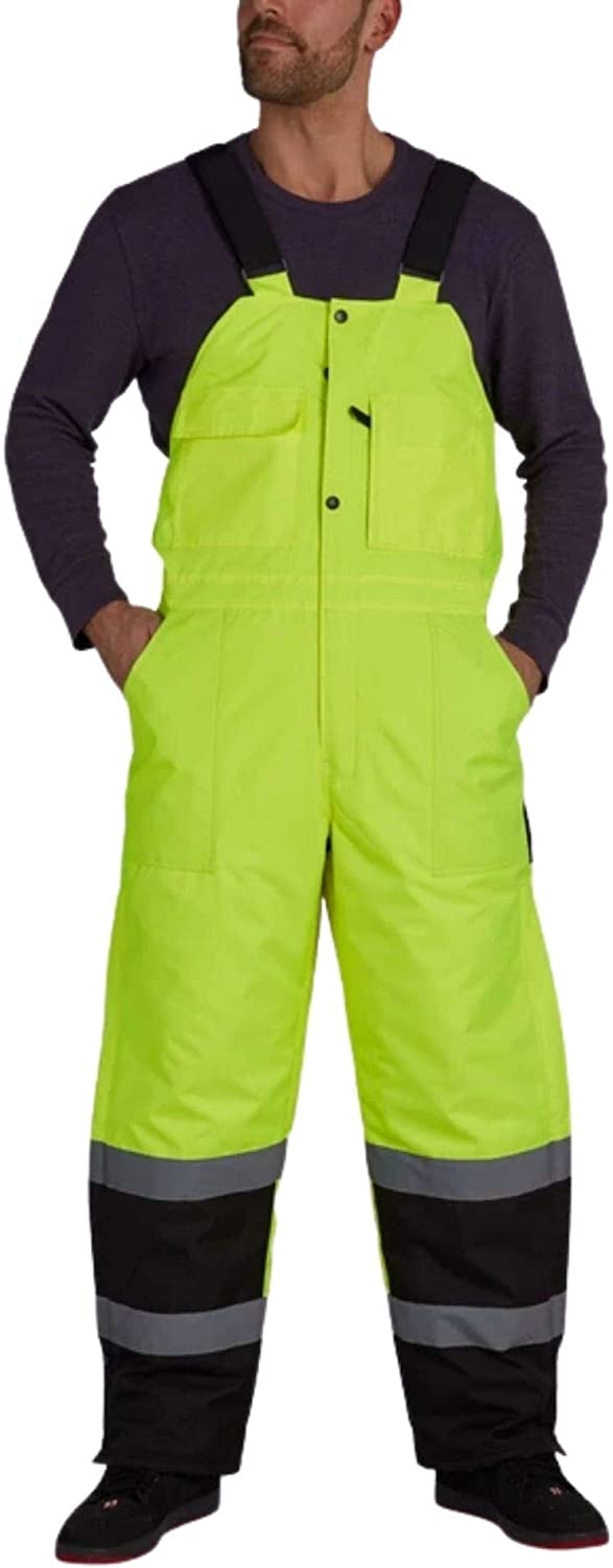 Utility Pro Opening large release sale - Lined Easy-to-use Bib Reflective Yello Wear Overalls Safety