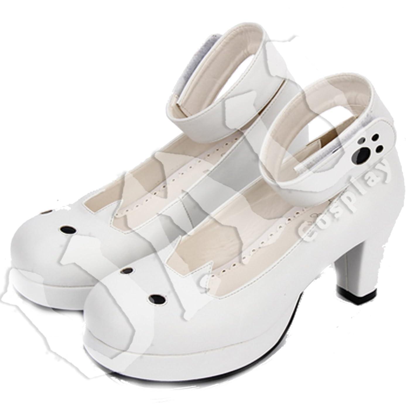 進行中無意味去る【UMU】 LOLITA ロリータ 白猫 黒目 キュート 風 靴 ブーツ ブーティ オーダーメイド(ヒール高、材質、靴色は変更可能!) (足22.5cm)