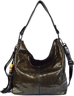 Adebie - Brand Women Handbag Genuine Leather Shoulder Bags Female Classic Serpentine Prints Tote Bag Ladies Tassel Luxury Messenger Bag L31 x H30 x W13cm Gold [L31 x H30 x W13cm]