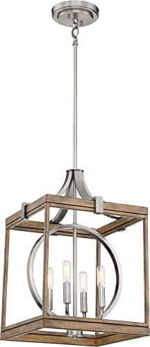 """lowest Minka Lavery 4014-280 Country Estates Square Pendant Ceiling Lighting, 4-Light, 240 Watts, Sun sale Faded discount Wood (22""""H x 15""""W) online"""