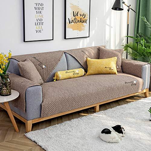 YUTJK Fashion Mehrzweck Sofabezug Sofaüberwurf aus Baumwolle, Couch Überzug, Bettüberwurf Tagesdecke Sofa Überzug, Schnittmuster Sofabezüge, Für Kinder, Braun