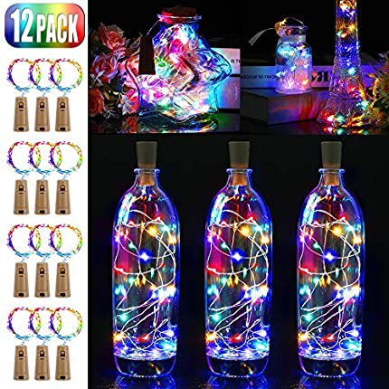 Luz de Botellas 12 Paquetes BIGHOUSE 2M 20 LEDs Alambre de Cobre Luces de Vino con Corcho de Bricolaje para Dormitorios, Bodas, Navidad, Decoración al Aire Libre(multicolor)