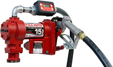 Fill-Rite FR1219G 12V 15 GPM (57 LPM) Fuel Transfer Pump with Discharge Hose, Manual Nozzle, Suction Pipe, Digital Meter
