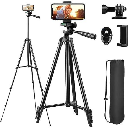Sunfoto Trépied Smartphone 51 inch 130cm Aluminium Léger 38cm-130cm avec Télécommande Bluetooth, Porte-téléphone et Adaptateur GoPro, Compatible avec iPhone, Samsung, Huawei, Gopro, Caméra (Noir)
