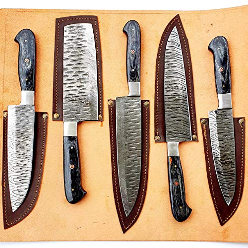 Set di coltelli da cucina | lama damascata con custodia in pelle | Coltello da chef in acciaio damascato | posate da campeggio | Set regalo | Kitchen Chef Knives | DCS02