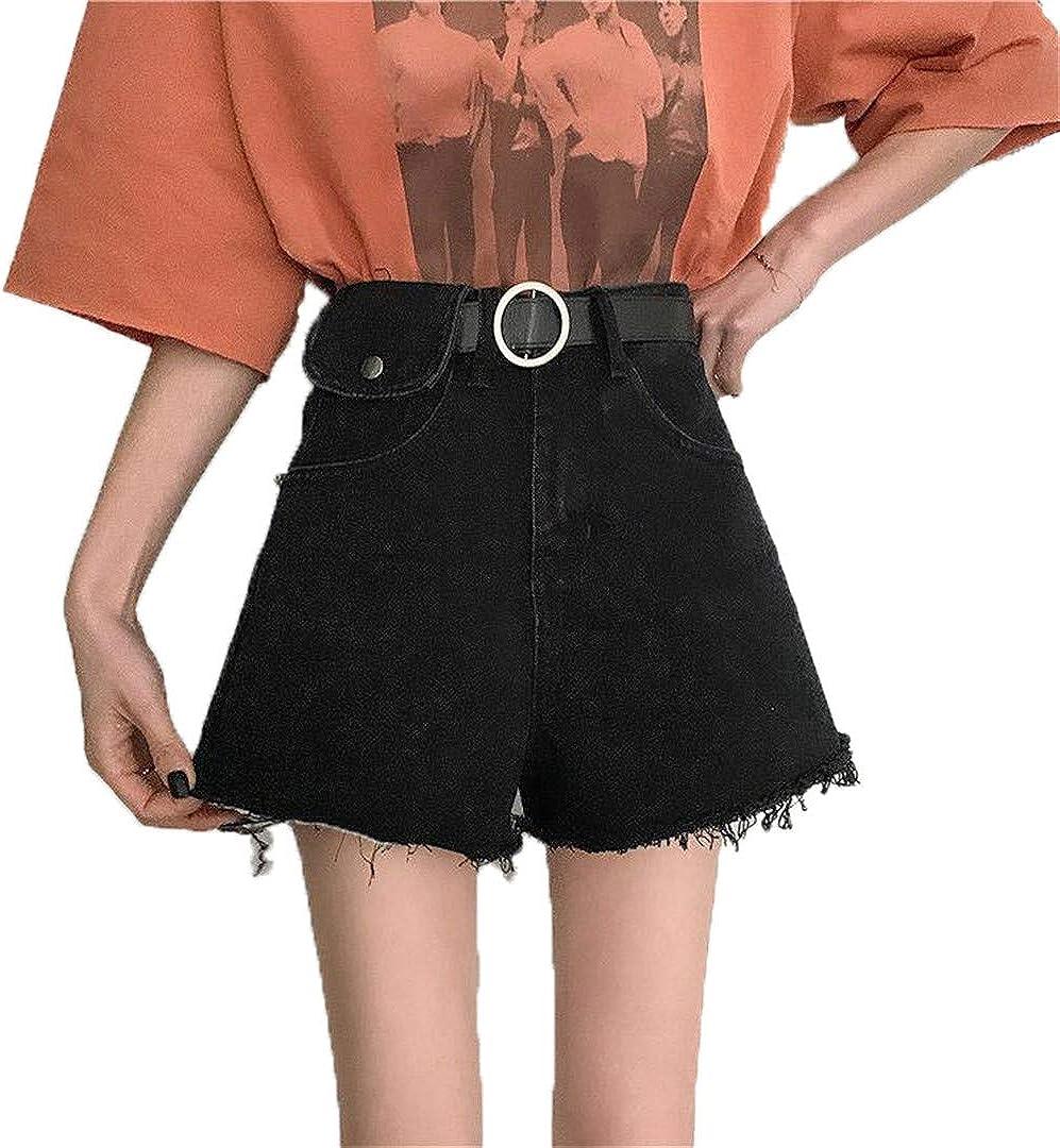 YHK Summer Women Vintage Blue Denim Shorts with Belt Casual Black Jeans Shorts