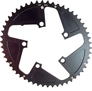 USAmade Oval SHARKTOOTH 110BCD 5-Bolt CNC Machined Alloy Black Road Chainring Increased Power Output New