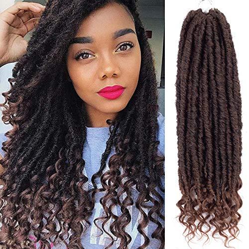 VRHOT 6Packs 14 inch Straight Goddess Locs Crochet Hair Braids Faux locs Curly Ends Ombre Synthetic Hair Extensions Dreadlocks Braiding Hair Soft for Women (14 inch (6packs), T1B/30)
