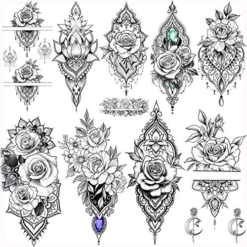 VANTATY 9 Sheets Lace Rose Flower Waterproof Temporary Tattoos For Girls Lady Fake Jewelrys Pendants Tattoo Stickers Lotus Pattern Body Art Indian Henna Painting Women Sexy Tatoos Chest