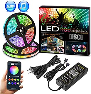 Dream Color RGB LED Strip Lights,32.8Ft/10m DC12V 2835 600Leds RGB LED Rope Chasing Tape Lights Kits Waterproof Bluetooth APP Control RGB LED Strip Light Kits with Music Rhyme for Home Kitchen BedRoom