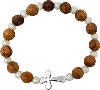 Layering Bracelet Bohemian Stretch Bracelet Gift for Her Olive Green Glass and Wood Bracelet