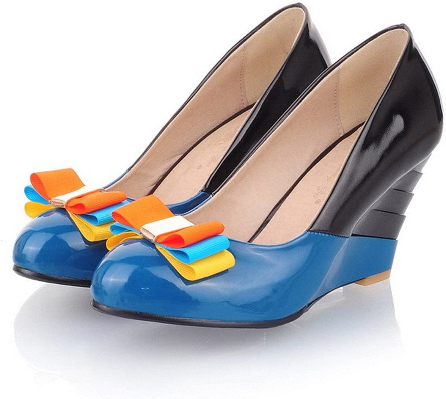 AmoonyFashion Womens Closed Round Toe High Heel Soft Material PU Pumps with Assorted colors and Bowknot, bluee, 7.5 B(M) US