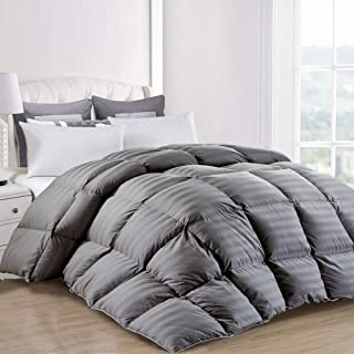 ROYALAY Luxurious King Size Goose Down Comforter, All Season, Duvet Insert, Gray Striped Comforter 100% Cotton Shell Hypo-allergenic with 8 Tabs, 1200 Thread Count,750+ Fill Power (King,Gray Stripe)