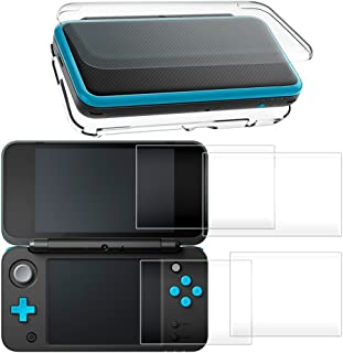 Hard Case for New Nintendo 2DS XL with 2 Packs Screen Protector, AFUNTA Anti-Scratch Crystal Clear Case, with 4 Pcs Temper...
