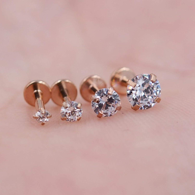 Rubyyouhe8 1Pc Women Cubic Zirconia Labret Lip Ring Ear Stud Earring Piercing Helix Jewelry Tongue Lip Eyebrow Nose Stud Belly Ring