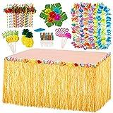 EXTSUD 97 piezas Hawaiano Luau Falda de Mesa Set con Guirnaldas y Piñas 3D, Decoración Mesa Hawaiana para fiesta hawaiana cumpleaños, fiesta de jardín, barbacoa, playa y piscina de verano