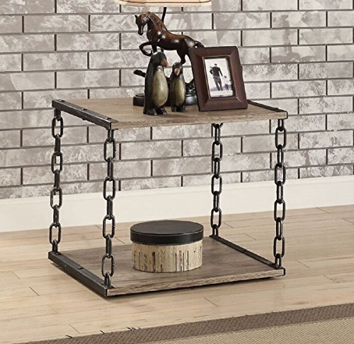 Major-Q 9082192 23' H Industrial Contemporary Style Antique Black Metal Chain Frame Wooden Rustic Oak Finish Top Living Room End Table