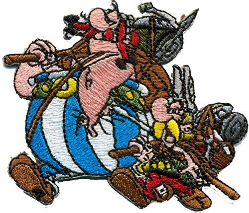 Asterix Obelix Backpacker Wandern Römer Bergführer Comic Aufnäher Aufbügln Patch