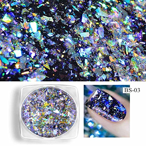 MERICAL Nouvelle Poudre à Ongles Neon Mirror Glitter Effet Mirror Rainbow Crystal Opal
